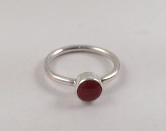 Silver Ring, Jasper Ring, Silver Stacking Ring, Red Jasper Ring, Sterling Silver Ring, Silver Band,  Red Stone Ring, Gemstone Ring