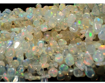 Beautiful AAA Ethiopian Welo Opal Plain Pear Shaped Briolettes - 9x5mm To 5x3mm - 4 Inch Strand - 30 Pieces Approx