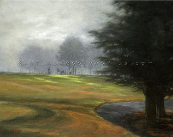 "Golf Art. Golf Gift. Pinehurst Golf Club, Course #1, Hole #8, ""Morning Mist"". Print of original oil painting."