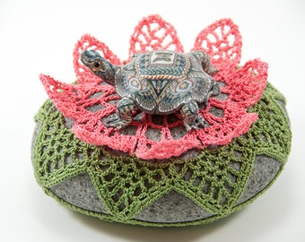 Crochet covered rock, lace stone, beach wedding, ring pillow, rose pink lily pad, table decor, paperweight, fiber art object, unique