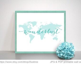 Wanderlust, world map, printable wall art, teal and coral digital art prints, travel poster, digital printable, home decor, instant download