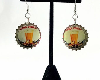 Beer Earrings,  Vintage Beer Ad, Bottle Cap Earrings, Recycled Jewelry, Beer Bottle Cap, Repurposed Jewelry