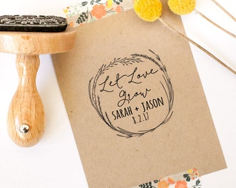 Seed Favors, Let Love Grow Stamp, Wedding Favor Stamp, Thank You Stamp, Personalized Wedding Stamp, Floral, Wreath, Seed Stamp,