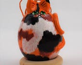 Calico Cat, Gourd Art, Ornament, Goldfish, , calico cat art, OOAK, Folk art cat, Holiday Ornament, Egg Gourd
