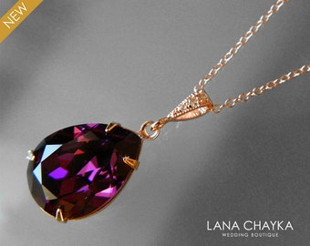 Amethyst Rose Gold Teardrop Crystal Necklace Swarovski Amethyst Purple Rhinestone Rose Gold Necklace Wedding Amethyst Jewelry Bridal Jewelry