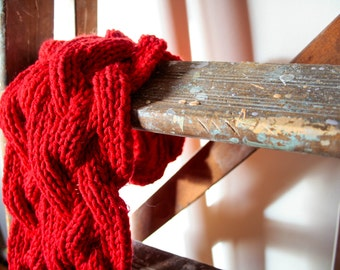 SPRING SALE 50% OFF: Kinky Ketchup - knitted red reversible scarf in pure British wool.