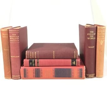 DECORATIVE Red Antiqued Set of Books for Display