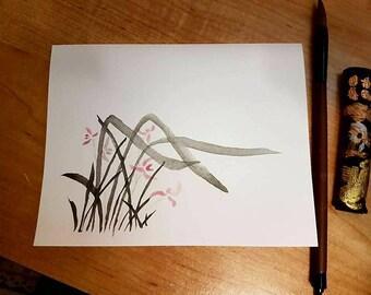 Watercolor grasses