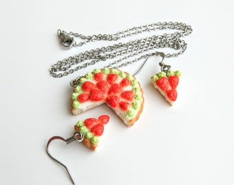 Strawberry cake Tiny food jewelry Cake moms gift Bakery jewelry Small food earrings Baker gifts Pastry jewelry Food necklace Fruit pie gift