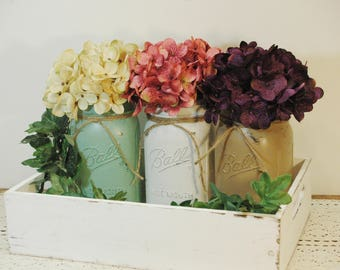 Painted Jar Set, Mason jars, Home Decor, Farmhouse jars, Shabby Chic Decor, Baby Shower, Bridal shower, Housewarming gift,Painted bottle set