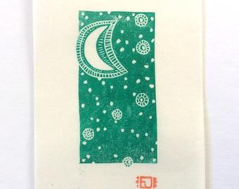 mini linocut - MOON // 4x6 art // printmaking // block print // green // celestial // stars // moonlight // original // small // miniature