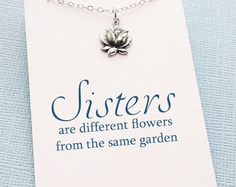 Sister Gift | Flower Necklace, Lotus Necklace, Gifts for Sister, Big Sister Birthday Gift, Best Friend Gift, Gift for Her, Friendship | S08