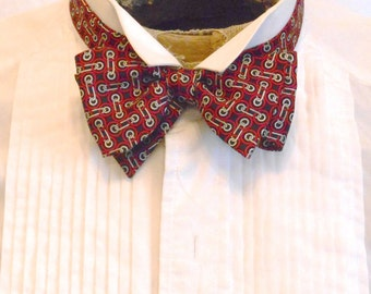 Brooks Brothers Vintage Bow Tie, Silk Twill with Chain Print in Black, Red and Off White or Ivory, Adjustable Sizing, Made in USA