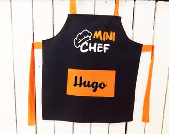 "Kid's apron personalized ""Mini Chef"" blue and orange with the child's name. Cotton fabric - handmade"