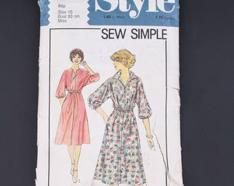 70's Style 2353 Sewing Pattern, Casual Dress 1978, Size 10 Extra Small XS