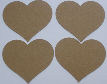 """Large Hearts  Bare Chipboard Die Cuts - Unfinished Craft Shapes  - 4"""" x 4.5"""""""