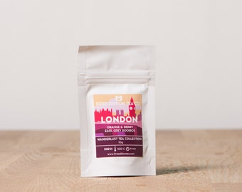 London Loose Leaf Tea Blend - The Wanderlust Tea Collection - Orange and Berry Earl Grey Rooibos Caffeine Free Herbal Tea - 10g bag
