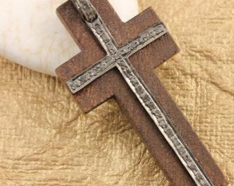 Pave Diamond Pendant, Pave Cross Pendant, Diamond Wood Cross Charm, Pave Wood Cross Necklace, Pave Religious, Oxidized Silver. (DCH/PDT/728)
