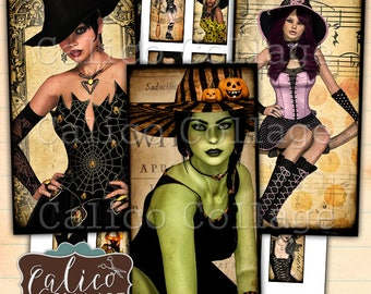 Witchy Ladies, Printable, Digital, Domino Images, Pendant Images, Charms, Collage Sheet, Halloween, Gothic, Domino Collage Sheet