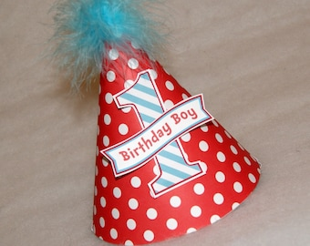 Red Dot and Turquoise Stripe Dr. Seuss Boys Birthday Party Hat - dr seuss party, cat in the hat party