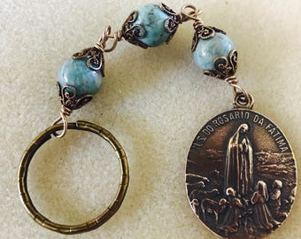 Large Fatima Bronze Keychain, 10mm Amazonite, Catholic Jewelry, Christian Jewelry