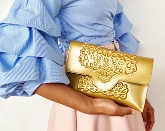 Bridal gold clutch, wedding clutch bag, medusa bags, stunning evening clutch bag, standout clutch bag, vegan & cruelty free
