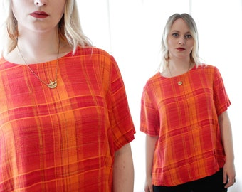 Vintage 1990s woven plaid ace and jig style bright orange short sleeve blouse shirt top 90s