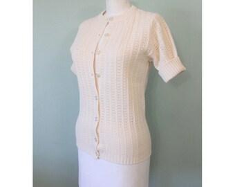 SALE   1970s cream open knit cardigan   vintage 70s cardigan sweater
