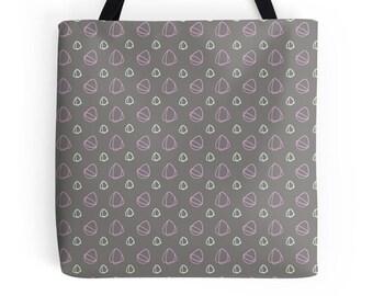 Grey tote Bag, Grey and pink, market shopper, tote bag, geometric print, shopping bag, tote shopper, market bag, Shopping bag, Beach bag