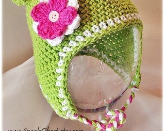 PDF Crochet Pattern Earflap Monkey Baby Hat with detachable flowers and braids Sizes Preemie To 4 Years by AngelsChest Crochet Pattern No. 1