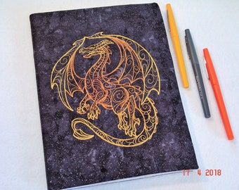 Golden Dragon Embroidered Composition Notebook Cover