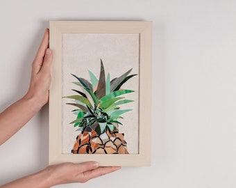 Pineapple mosaic picture Framed picture Stained glass mosaic decor Summer pineapple art Summer wall decor Tropical fruit Hawaiian wall art