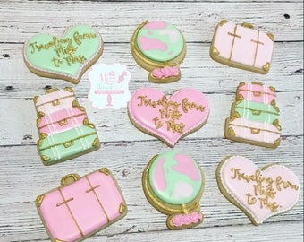 Travel Bridal Shower Cookies