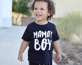 Mama's Boy Kids Graphic T-shirt Black and white or custom colors available - infant or toddler -