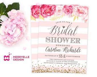 Floral Bridal Shower Invitation, Floral Bridal Shower Invite Printable, Pink and Gold Bridal Shower Invitation, Modern bridal shower invite