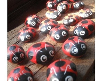 Bug Attack - Ladybug  Handpainted Magnet , lucky charm -