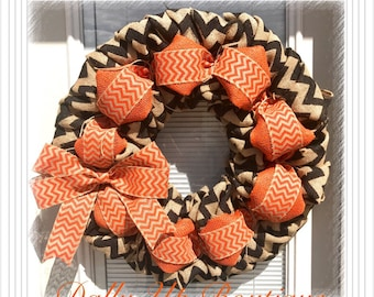 Fall Burlap Wreath - Autumn  Burlap wreath,Orange,  Halloween Wreath - Orange Natural and Black Wreath - Fall Wreath - Fall Decor