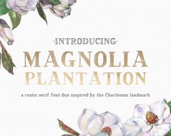 Magnolia Plantation - Serif Font - Hand-written font - Hand-lettered font - Rustic Font - Farmhouse Chic - Magnolia Font - Wedding Font