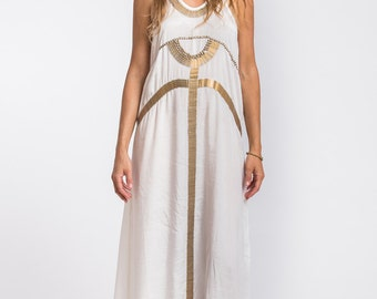 Egyptian Dress, White and Gold Dress, Evening Dress, White Maxi Dress Summer, Long White Dress, Goddess Dress