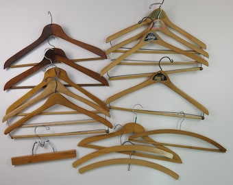 Vintage Wooden Hangers Advertising Clothiers Clothing Stores NY NJ Lot of 14