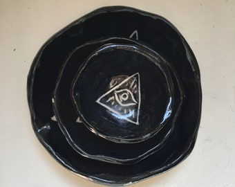 All Seeing Eye Bowls in Black - Set of 3 Sold Sep. | Handmade Ceramics made in Seattle WA, Burnt Thistle Ceramics