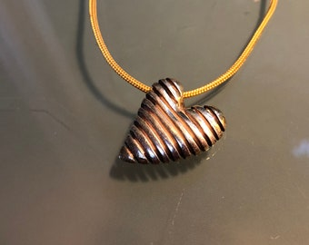 Hatched Heart Sterling Silver Necklace