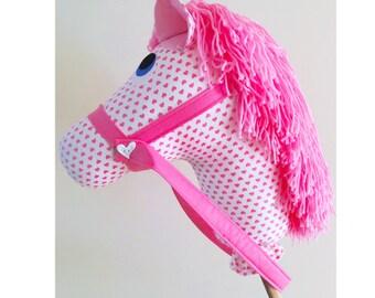 Handmade pink and white hearts Hobby Horse pony