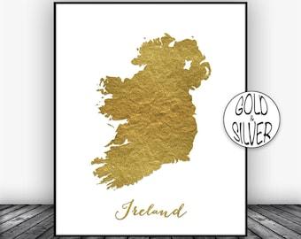 Ireland Print, Gold Decor, Ireland Map Art, Map Painting, Map Artwork, Country Art, Office Decor, Country Map GoldArtPrint