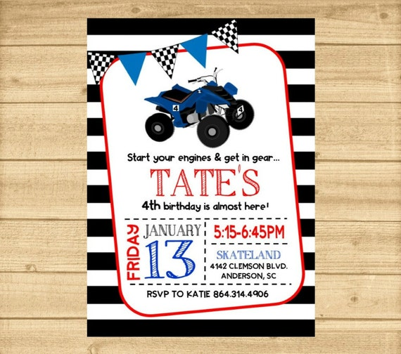 4 wheeler invitation 4 wheeler birthday party invitation