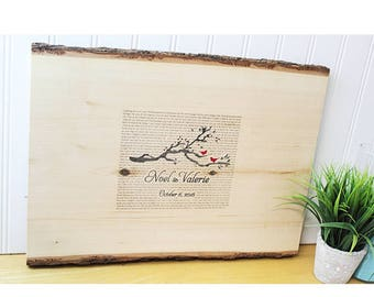 Wedding guest book wood rustic guestbook Uniquebirds in love lyrics guestbook anniversary gift Guestbook personalized book