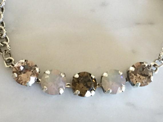 Swarovski Light Grey Opal Crystal Bracelet, Swarovski Smoky Quartz Crystal Bracelet, Greige Crystal Bracelet, Swarovski Grey Bracelet