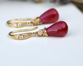 Ruby Teardrop Earrings | Red Smooth Drops | CZ Pave | 14k Gold Vermeil - Gold Fill Dangle | Small Earrings | Birthday Gift | Ready to Ship