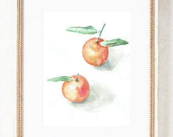 Tangerine drawing N.3 - ORIGINAL watercolor painting after tangerines - Orange fruits still life by Catalina