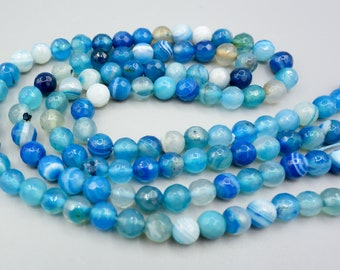 blue Agate beads - faceted blue  agate beads - full strand  - faceted agate beads - 6mm